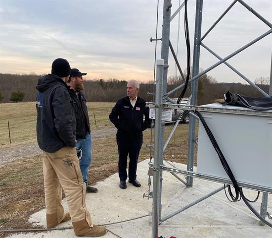 Bill Johnson, along with FCC Chairman Ajit Pai, visited a tower site in Athens County on January 22. The provider operating the tower plans to bid on the new Rural Digital Opportunity Fund.